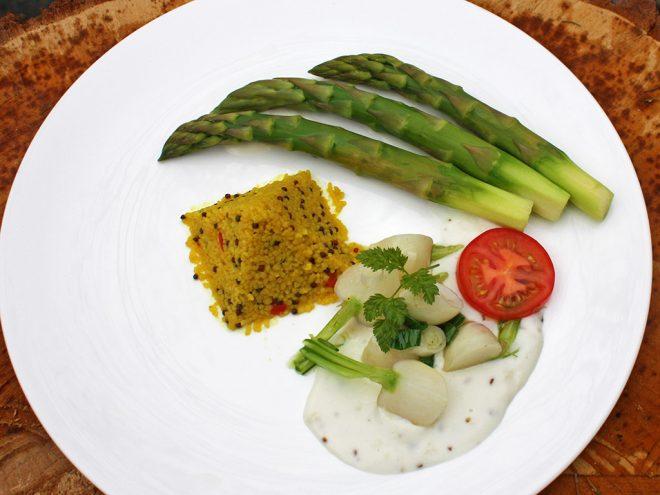Ayurveda Rezept: Grüner Spargel mit Navetten und Couscous | Ayurveda Parkschlösschen Health Blog